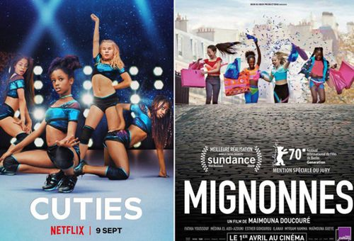 The Netflix poster which caused controversy even before the film was made available by the streaming giant (left) and its version in French (right).