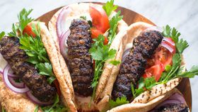 Beef kofta wrap with tahini sauce
