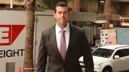 Ben Roberts-Smith arrives at court for day two of his defamation trial.