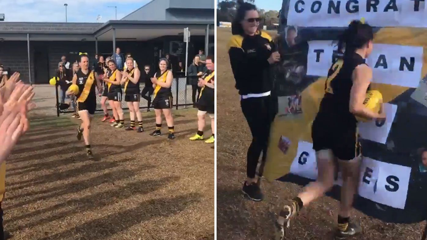 Seaford Tigrettes player floored by hilarious banner fail