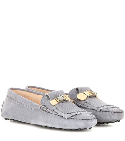 """<a href=""""http://www.mytheresa.com/en-au/gommini-frangia-crystal-embellished-suede-loafers-556416.html"""" target=""""_blank"""">Loafers, $815, TOD's at MyTheresa.com</a>"""