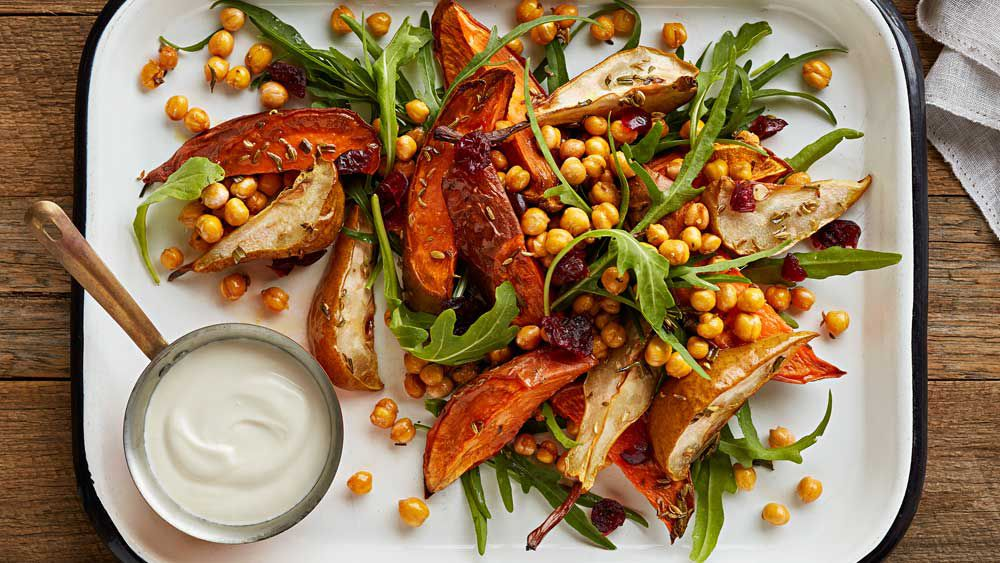 Sweet potato and pear salad with crunchy chickpeas by McKenzie's Foods