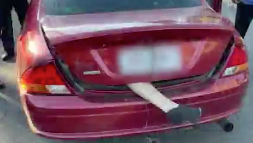 A Queensland man has faced massive fines following police finding what appeared to be a human leg sticking out the back of his car's boot.