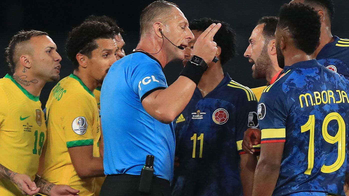 Brazil beats Colombia amid controversy after referee's accidental pass