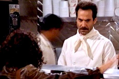 """<B>What's the story?:</B> In the episode 'The Soup Nazi', the gang visits a soup stand run by a very strict chef. All those who dare stray from his rules are ejected with a stern """"no soup for you!"""" Like many <i>Seinfeld</i> characters, the Soup Nazi was based on a real New Yorker (soup-seller Al Yeganeh), who supposedly booted Seinfeld from his store after the episode aired.<br/><br/><B>When to use it:</B> """"Soup"""" can be replaced with any item that you're arbitrarily withholding. <br/><br/><B>When <em>not</em> to use it:</B> While ordering at Yeganeh's actual soup kitchen."""