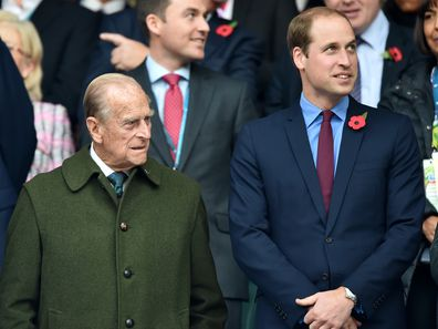 Prince Harry, Prince Philip, Duke of Edinburgh and Prince William, Duke of Cambridge attend the 2015 Rugby World Cup Final match between New Zealand and Australia