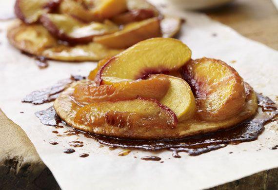 Sticky caramelised peach tart