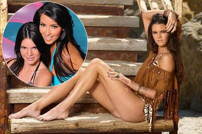 Kim's half sister 14-year-old Kendall Jenner's modeling career has kicked off with a set of photos already deemed inappropriate for a girl of her age. Kendall is actually wearing a bikini but some say the shoot is too racy as it looks like she has no pants on.