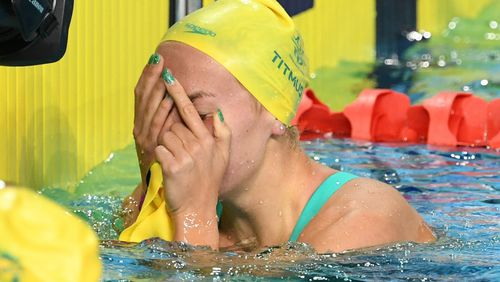 Ariarne Titmus of Australia reacts after coming second in the Women's 200m Freestyle. (AAP)