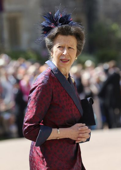 The Princess Royal arrives at St George's Chapel at Windsor Castle for the wedding of Meghan Markle and Prince Harry.