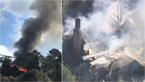 A home has been gutted by a massive fire that ripped through a property east of Melbourne. Picture: Supplied / 9NEWS