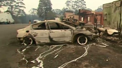 Molten metal from a car caught in the Lake Conjola blaze.