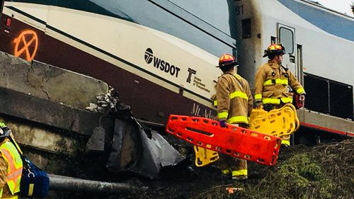 The train derailed just after 8am local time. (Pierce County Sheriff's Department)