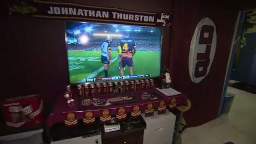 Mr Serrurier's man-cave also includes a Queensland Maroons section.