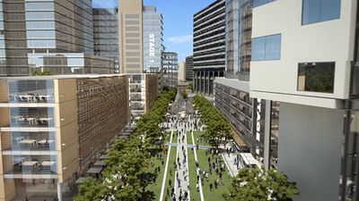 A green boulevard through the centre of Parramatta CBD is a centrepiece of the plan. (Supplied)