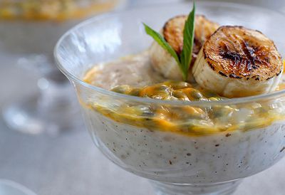 Warm rice pudding with passionfruit