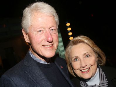 "Bill Clinton and Hillary Clinton at the opening night of the new Manhattan Theatre Club play ""Bella Bella"" in 2019."