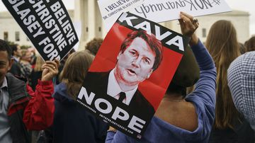Protesters opposing Brett Kavanaugh's nomination to the Supreme Court.