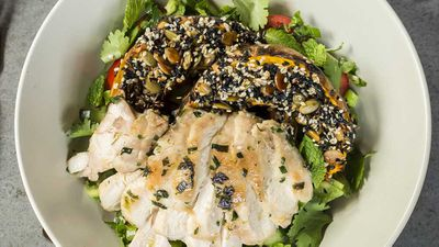"Recipe: <a href=""http://kitchen.nine.com.au/2018/02/23/12/08/sesame-crusted-pumpkin-chicken-salad"" target=""_top"">Sesame crusted pumpkin, chicken and parsley chop salad</a>"