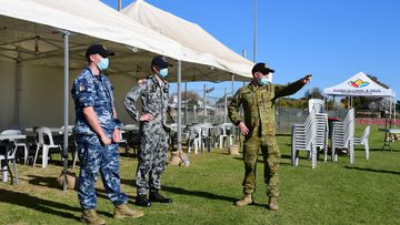 Australian Defence Force personnel prepare for the opening of a mass vaccination centre in Dubbo, NSW.