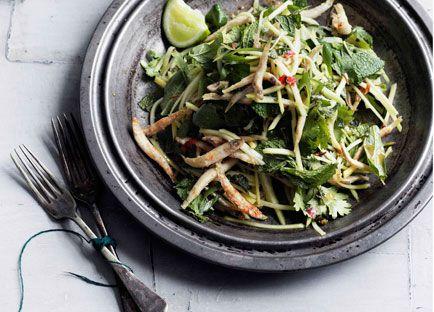 Crisp chilli whitebait and green mango salad