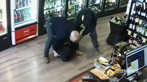 The 64-year-old grandfather managed to grab one of the men in a headlock as the others ran from the store.