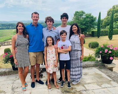 Prince Joachim with wife Princess Marie (far left), ex-wife Countess Alexandra of Frederiksborg (far right) and their children Prince Felix, Prince Nikolai (back) Princess Athena, Prince Henrik (front) at Château de Cayx in July