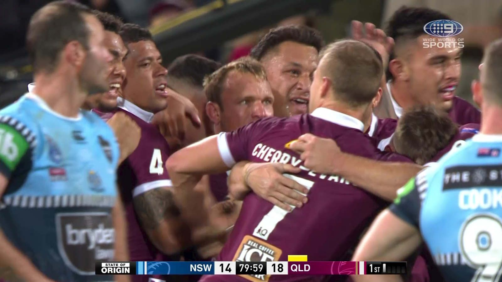Queensland celebrate the win with a second left on the clock.