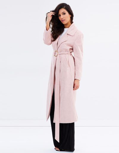 """<a href=""""https://www.theiconic.com.au/the-vault-suede-coat-483348.html"""" target=""""_blank"""" draggable=""""false"""">Lioness The Vault Suede Coat in Blush, $125</a><br>"""