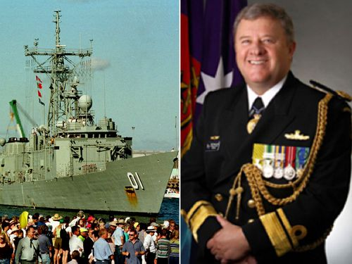 Rear Admiral Raydon Gates and HMAS Adelaide on its return to Fremantle with a rescued Tony Bullimore in 1997. (Photos: AAP/RAN).