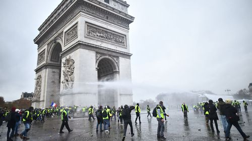 Water cannons and tear gas were used by French police to subdue the fray