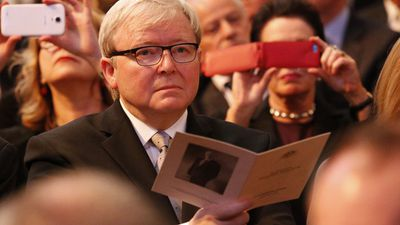 Former Prime Minister Kevin Rudd during the service. (AAP)