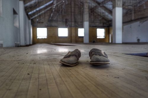 A pair of dust covered shoes inside the bowling alley. (Matt Nelson)