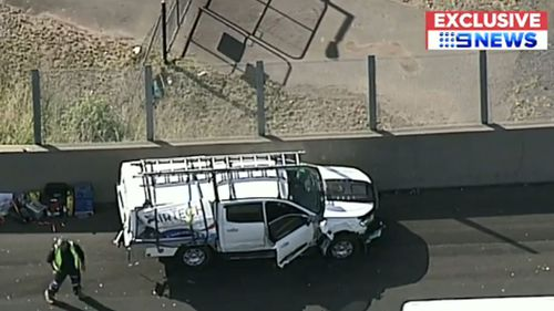 Sydney motorway accident: Tradies' lucky escape after truck hit ute