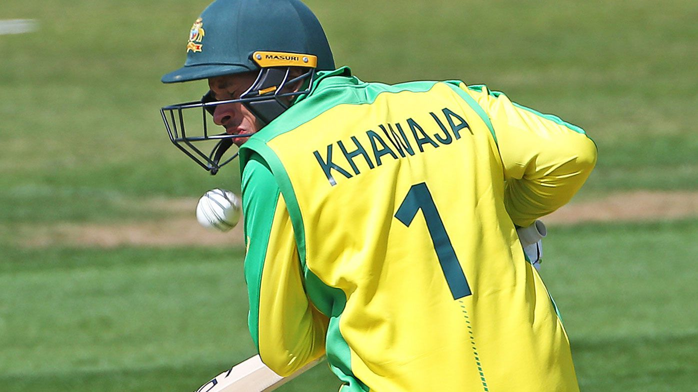 Usman Khawaja cleared of broken jaw after being hit by bouncer in World Cup warm-up