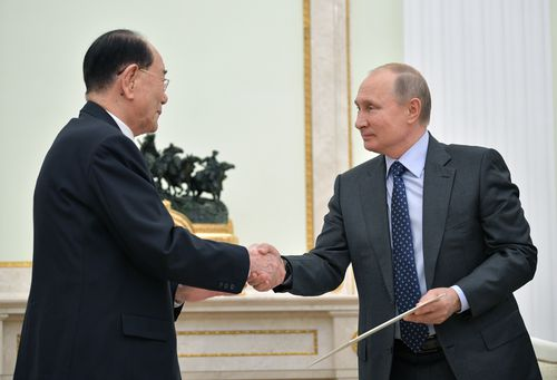 Russian President Vladimir Putin (R) shakes hands with President of the North Korean Presidium of the Supreme People's Assembly Kim Yong-nam