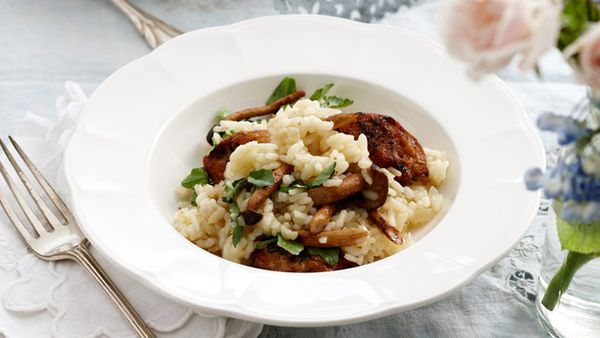 Quail, mushroom and watercress risotto