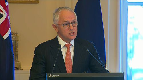 """""""You inspired the whole world,"""" Mr Turnbull said. Picture: 9NEWS"""