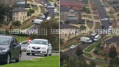 Police block off a street in Greenvale, in Melbourne's north-west. (9NEWS)