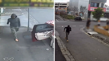 The offender fled on foot before jumping into a silver.