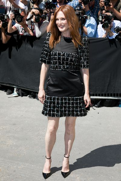 Julianne Moore in Chanel at the haute couture show held at the Grand Palais.