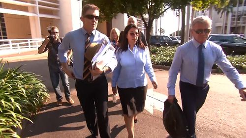 """Ms Kamitsis (centre) was an """"intimate friend"""" of the accused, the court heard. (9NEWS)"""