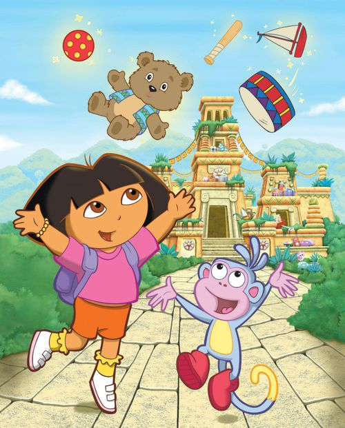 """In this drawing, supplied by Nick Jr, the animated, seven-year-old heroine of """"Dora the Explorer,"""" enjoys an adventure with her friend   Boots in an episode of the children's television show.  (AP)"""