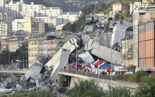 An 80m span of the Morandi Bridge came crashing down at 11.30am on Tuesday local time.