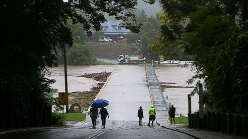 Floodwaters have divided the town of Bellingen in two. (9NEWS)