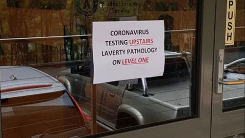 Coronavirus testing lab in Sydney's north.