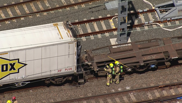 The freight train caught fire at Hornsby Station in Sydney's north west today.