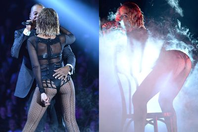 Beyonce's bum was centre stage at this year's Grammys.<br/><br/>Images: Getty