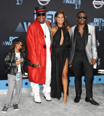 Bobby Brown, wife Alicia Etheredge and sons Cassius Brown and Bobby Brown Jr. attend the 2017 BET Awards at Microsoft Theater on June 25, 2017