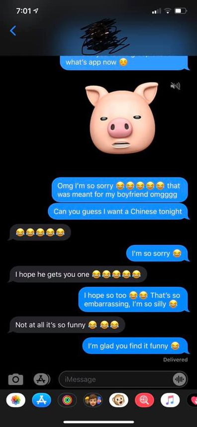 The young woman accidentally messaged her boss instead of her boyfriend